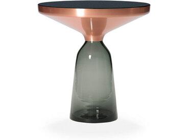 CLASSICON table BELL SIDE TABLE (gris quartz - Structure en cuivre, plateau en Cristal noir et base en verre soufflé)