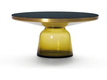 CLASSICON table BELL COFFEE TABLE (jaune topaze - Structure en laiton, plateau en Cristal noir et base en verre soufflé)