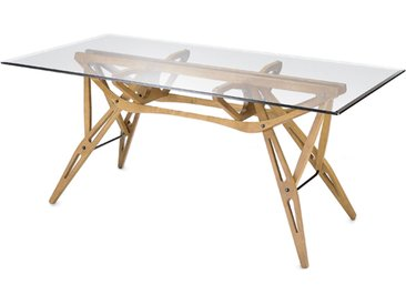 ZANOTTA table avec étage en verre REALE (90x220 cm - chêne naturel)