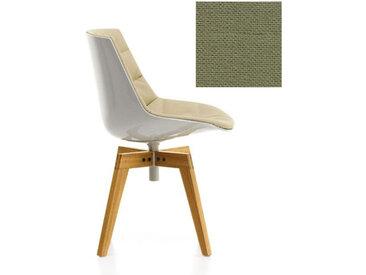 MDF ITALIA chaise rembourrée avec pieds en chêne FLOW CHAIR (Blanc / 332 - Polycarbonate / Cat. B tissu Gin)