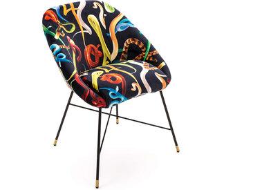 SELETTI chaise rembourrée TOILETPAPER PADDED CHAIR (Snakes - Tissu en polyester, Structure en bois, polyuréthane et métal)