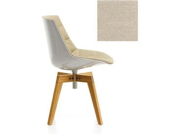 MDF ITALIA chaise rembourrée avec pieds en chêne FLOW CHAIR (Blanc / 222 - Polycarbonate / Cat. B tissu Gin)
