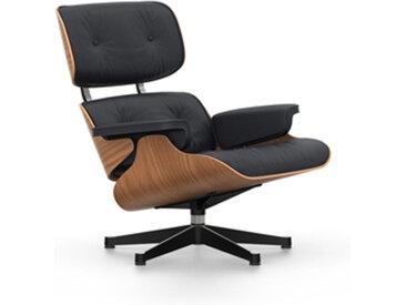 VITRA fauteuil cuir noir EAMES LOUNGE CHAIR dimensions classiques (Base brillante/profils noirs, structure cerisier américan, Cuir noir Premium [...]