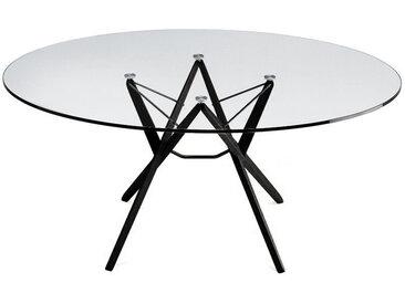 ZANOTTA table ORIONE (Ø 125 cm - Verre et chêne noir)