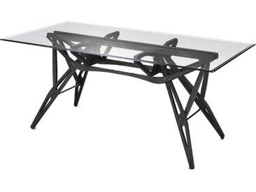 ZANOTTA table avec étage en verre REALE (80x160 cm - Chêne teint noir)