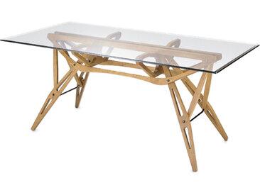 ZANOTTA table avec étage en verre REALE (80x160 cm - chêne naturel)