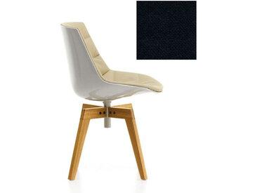 MDF ITALIA chaise rembourrée avec pieds en chêne FLOW CHAIR (Blanc / 192 - Polycarbonate / Cat. B tissu Gin)
