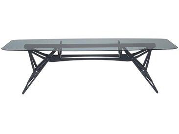ZANOTTA table avec étage en verre REALE CM (100x250 cm - Chêne teinté noir, cristal fumé gris)