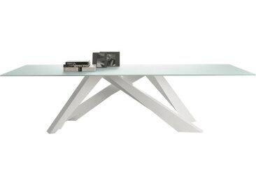 BONALDO table BIG TABLE (Blanc 250 cm - pleateau en cristal extra-clair traité à l'acide blanc / Pieds en acier verni)