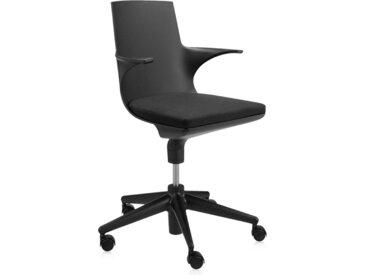 KARTELL chaise de bureau SPOON CHAIR (Noir-Noir - Polypropylène coloré dans la masse)