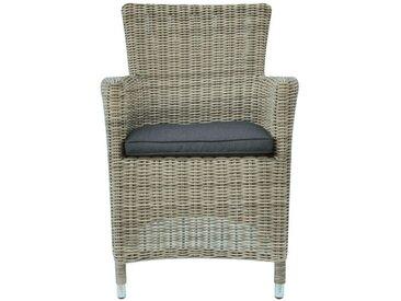 GREENWOOD fauteuil d'extérieur ANTIGUA (Gris Kubu / Coussin gris - Rattan synthétique)