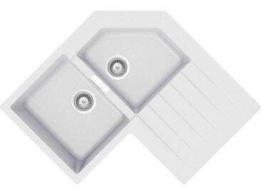 SCHOCK évier d'angle avec 2 bacs à gauche et égouttoir PRIMUS C200 (New alumina - Cristalite®)