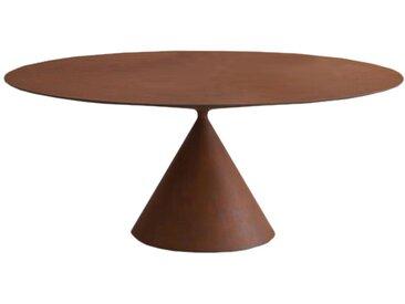 DESALTO table oval CLAY (120x200 cm / Metal Rusty - Base en polyuréthane / Plateau MDF avec revêtement)