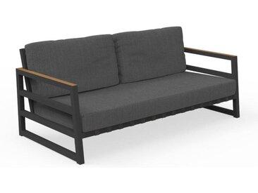 TALENTI canapé à 2 places d'extérieur ALABAMA ALU Collezione Premium (Graphite / Dark grey - Tissu, aluminium peint et teak)