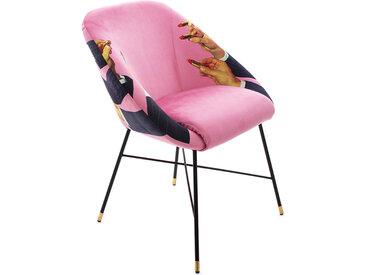 SELETTI chaise rembourrée TOILETPAPER PADDED CHAIR (Pink Lipsticks - Tissu en polyester, Structure en bois, polyuréthane et métal)