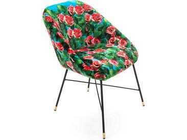 SELETTI chaise rembourrée TOILETPAPER PADDED CHAIR (Roses - Tissu en polyester, Structure en bois, polyuréthane et métal)