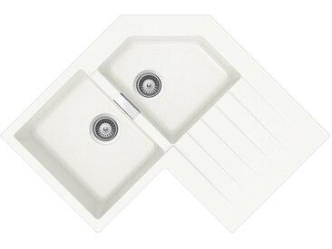 SCHOCK évier d'angle avec 2 bacs à gauche et égouttoir PRIMUS C200 (Blanc pur - Cristalite®)