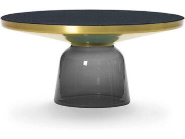 CLASSICON table BELL COFFEE TABLE (gris quartz - Structure en laiton, plateau en Cristal noir et base en verre soufflé)