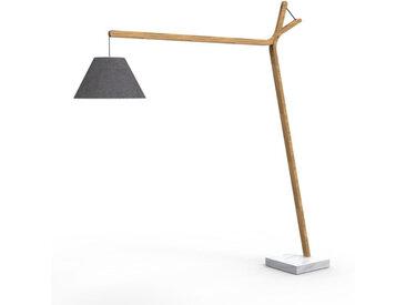TALENTI lampadaire d'extérieur CLEO TEAK Collection Icon (Dark grey - Teck naturel, tissu et marbre de Carrara)