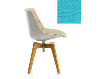 MDF ITALIA chaise rembourrée avec pieds en chêne FLOW CHAIR (Blanc / 722 - Polycarbonate / Cat. B tissu Gin)