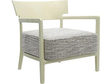 KARTELL fauteuil CARA FANCY (Vert pâle / Vert-Noir - polycarbonate coloré dans la masse et tissu fantasia)