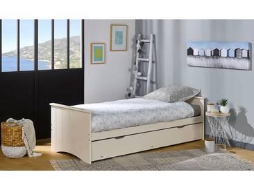 Lit gigogne avec matelas 80 x 190 Blanc Wood