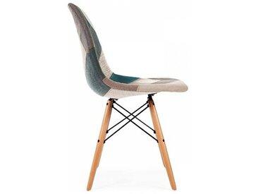 Famous Design Chaise DSW rembourrée - Patchwork bleu