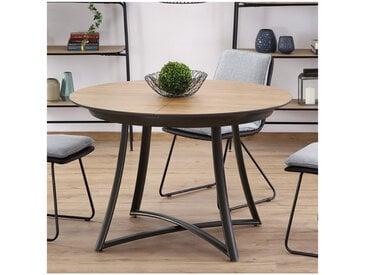 Table de salle à manger ronde extensible aspect chêne pieds acier Steel