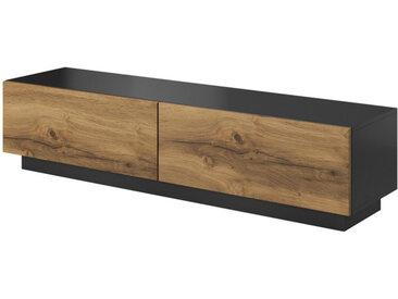Meuble TV aspect chêne et anthracite 160 cm Trevise