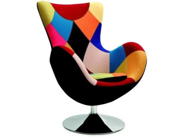 Fauteuil oeuf patchwork multicolore