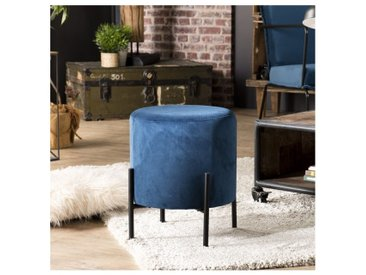Tabouret bas rond 35 cm bleu velours pieds métal noir Boléro