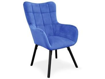 Fauteuil Design en Velours Arkos 105cm Bleu - Paris Prix