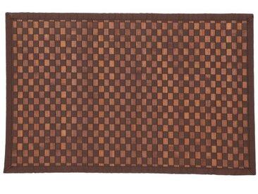 """Tapis en Bambou """"Damier"""" 170cm Chocolat - Paris Prix"""