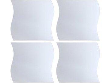 """Lot de 4 Miroirs Adhésifs """"Vague"""" 30x30cm Argent - Paris Prix"""