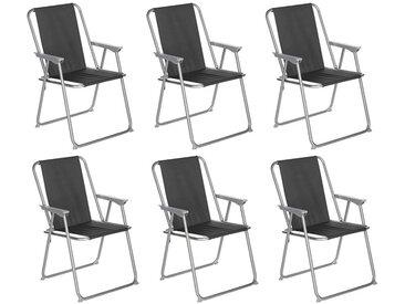 """Lot de 6 Chaises de Camping Pliantes """"Grecia"""" 74cm Noir - Paris Prix"""