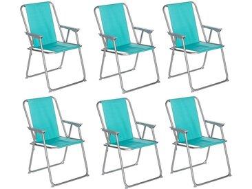 """Lot de 6 Chaises de Camping Pliantes """"Grecia"""" 74cm Bleu - Paris Prix"""