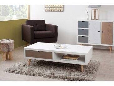 Table basse rectangulaire en bois avec niche et tiroir L120cm EVAN