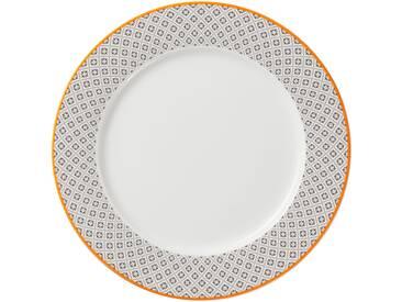 Assiette à dessert en porcelaine blanche et contour gris 21cm GRANDS CLASSIQUES