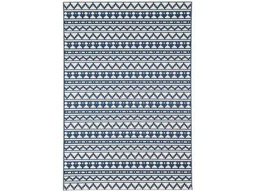 Tapis bleu ethnique à motif mosaïque 135x190cm IMANI