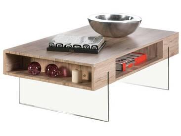 Table basse en bois décor San remo avec niches + pieds en verre L110cm CHALTEN