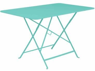 Table de jardin FERMOB rectangulaire pliante 117x77 cm acier laqué bleu lagon BISTRO