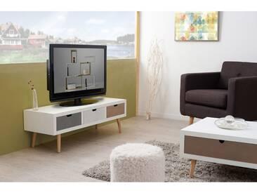 Meuble TV en bois blanc 3 tiroirs EVAN