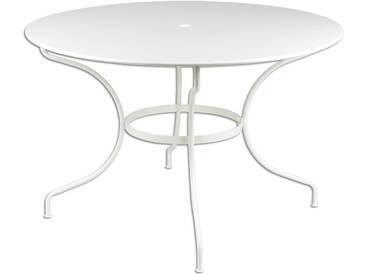 Table de jardin FERMOB ronde D.117cm en acier blanc OPERA