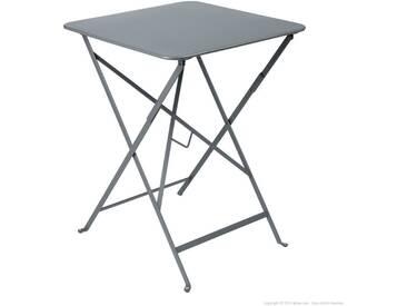 Table de jardin FERMOB carrée pliante 57x57 cm acier laquégris orage BISTRO
