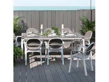 Salon de jardin 8 places: table rectangulaire extensible en DurelTOP avec fauteuils ALLORO/PALMA taupe