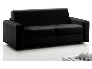Canapé 3 places convertible express en cuir de vachette noir DANAE