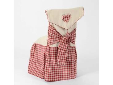 Housse de chaise coton rouge et blanc motif carreaux H126 COUNTRY