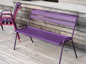 Banc de jardin FERMOB empilable en acier violet aubergine MONCEAU