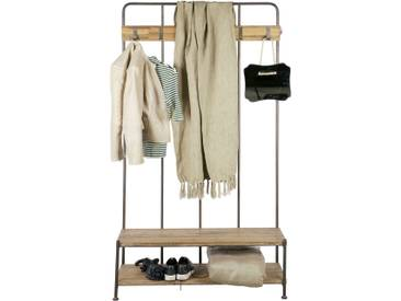 Vestiaire dentrée avec banc et étagère bois et métal 5 crochets GIRO
