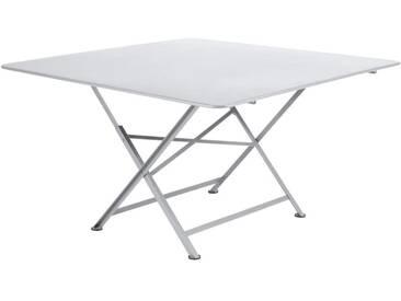 Table de jardin FERMOB carrée pliante en acier 8 personnes 130x130cm blanc CARGO